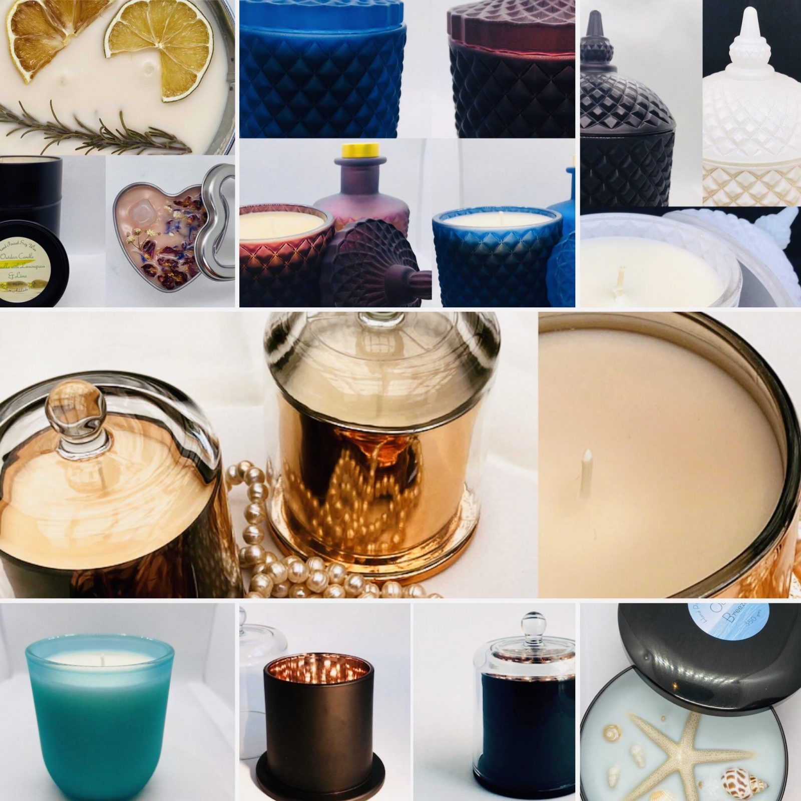 Collage of some of the beautiful candles made by Scentsory
