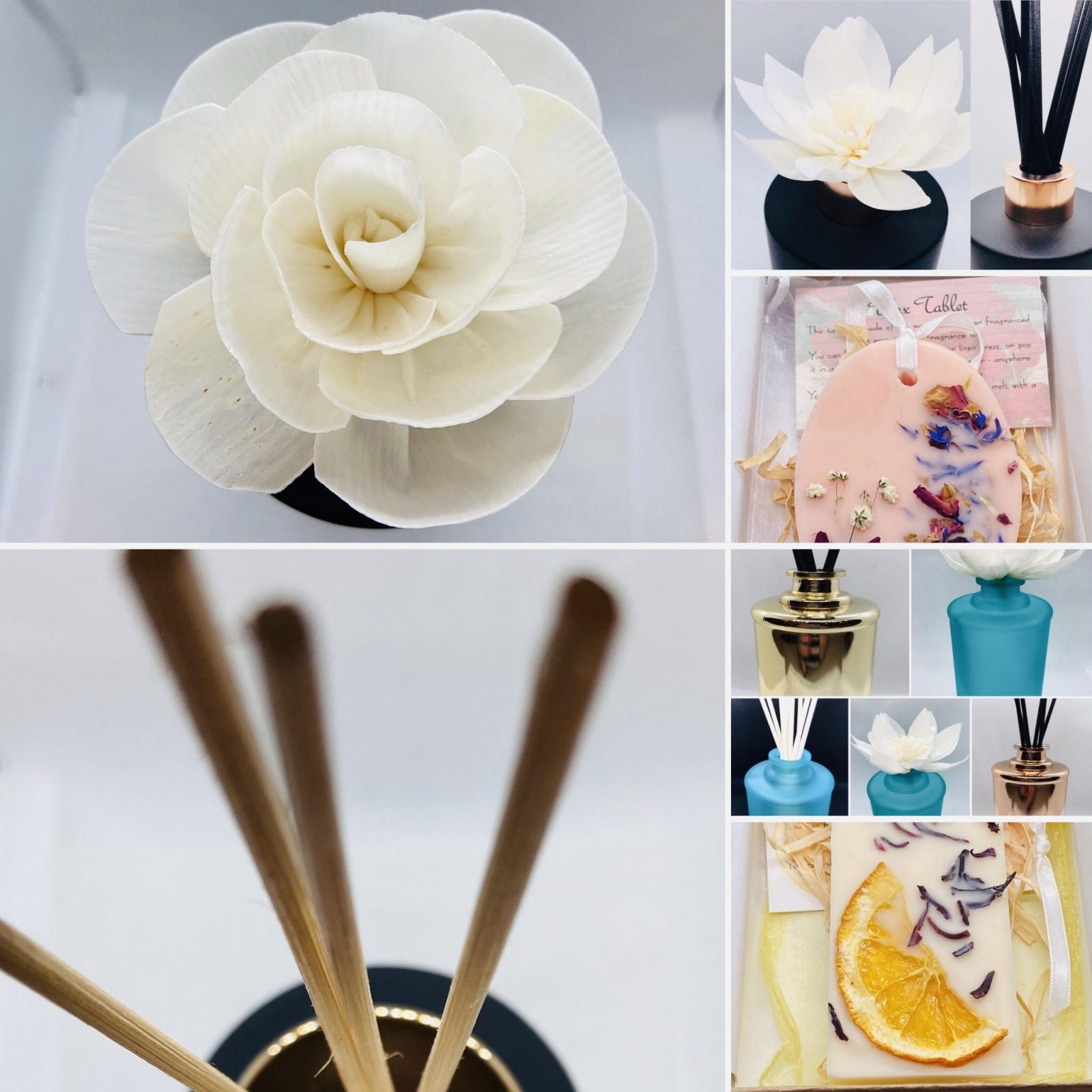 Collage of fragrant items